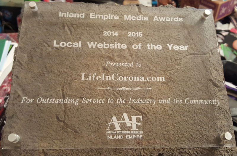 Inland Empire Media Awards Local Website of the Year Plaque