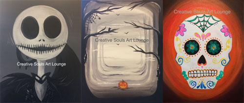 Creative Soul Art Lounge Halloween themed paintings