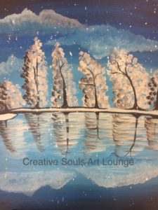 Creative Souls Art Lounge Snowy Trees painting