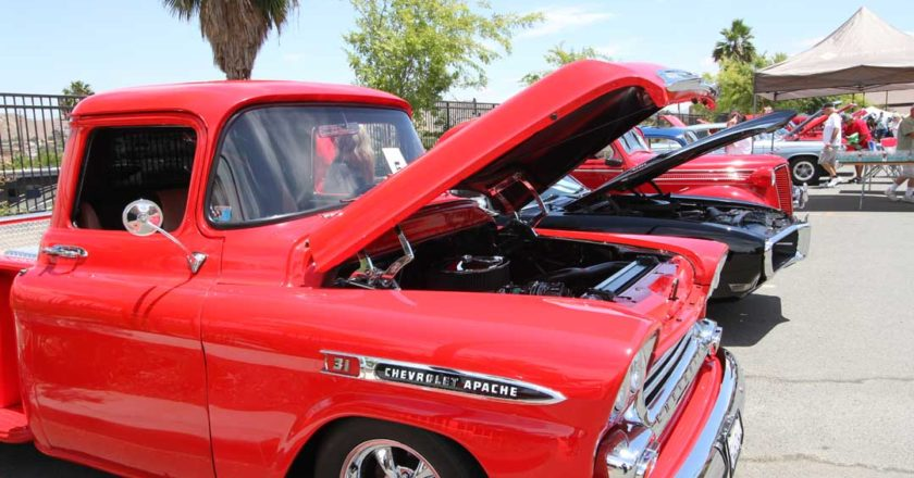A red Chevy Apache on display at the 2017 Estancia Del Sol Classic Car Show