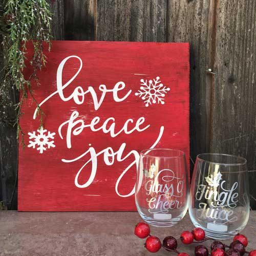 Example of the holiday sign and wine glasses from Urban Craft House