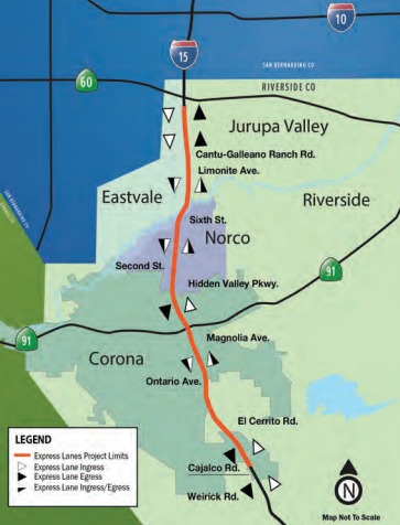 I-15 Project Map showing location and length of new express lanes.
